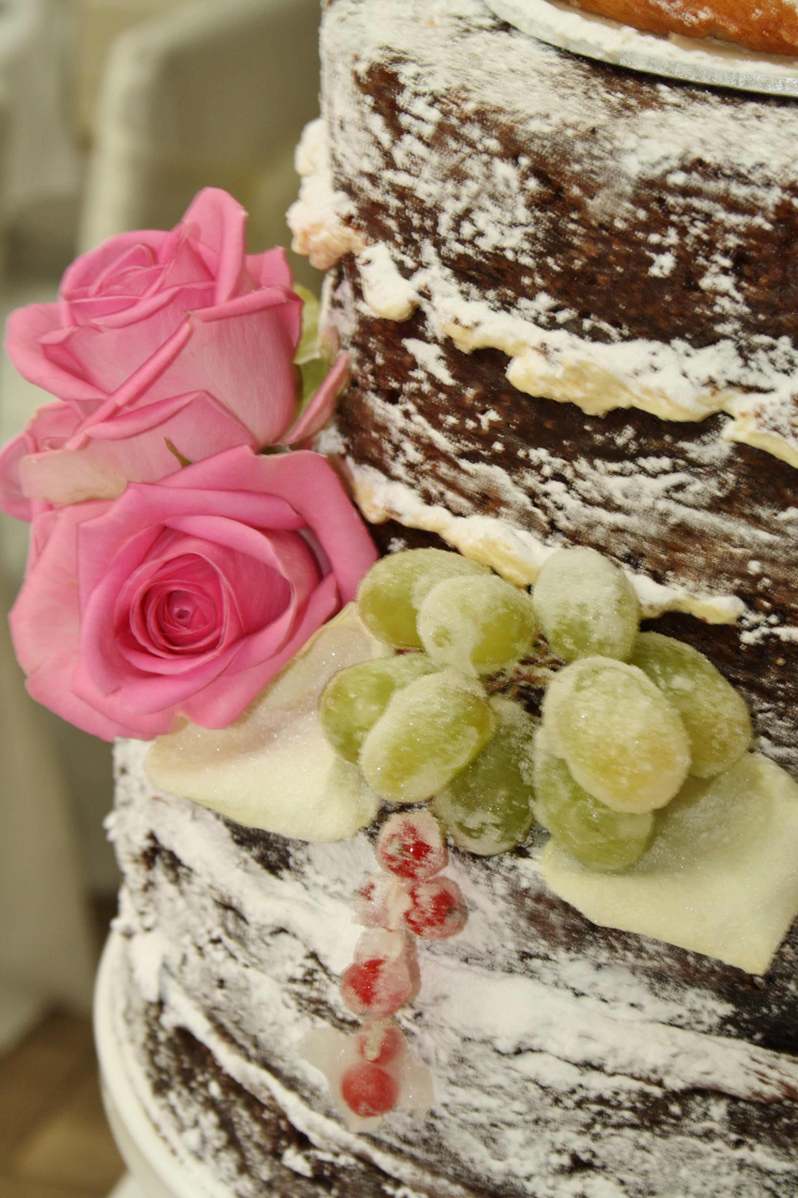 Moist Carrot Cake Decorated With Rose Petals
